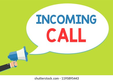 Word writing text Incoming Call. Business concept for Inbound Received Caller ID Telephone Voicemail Vidcall Man holding megaphone loudspeaker speech bubble message speaking loud.