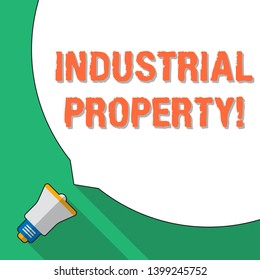 Word writing text Industrial Property. Business concept for the intangible ownership of a trademark or patent Huge Blank White Speech Bubble Occupying Half of Screen and Small Megaphone.