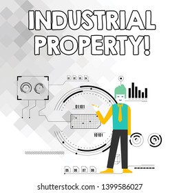 Word writing text Industrial Property. Business concept for the intangible ownership of a trademark or patent Man Standing Holding Pen Pointing to Chart Diagram with SEO Process Icons.