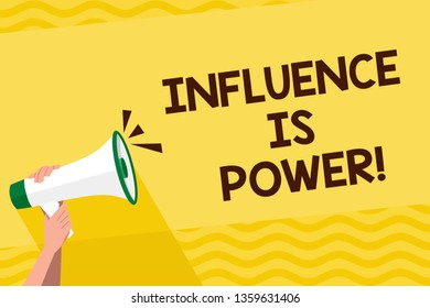 Word writing text Influence Is Power. Business concept for to have important effect on someone or something Human Hand Holding Tightly a Megaphone with Sound Icon and Blank Text Space.