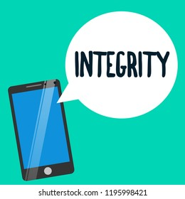 Word writing text Integrity. Business concept for quality of being honest and having strong moral principles