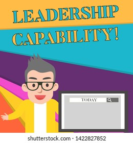 Word writing text Leadership Capability. Business concept for what a Leader can build Capacity to Lead Effectively Male Speaker Monitor with Search Tool on Screen Presentation or Report.