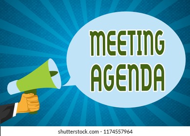 Word writing text Meeting Agenda. Business concept for An agenda sets clear expectations for what needs to a meeting