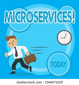 Word writing text Microservices. Business concept for Software development technique Decomposing an application Man in Tie Carrying Briefcase Walking in a Hurry Past the Analog Wall Clock.