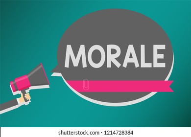 Word writing text Morale. Business concept for enthusiasm and discipline of person or group at particular time Man holding megaphone loudspeaker speech bubble message speaking loud.