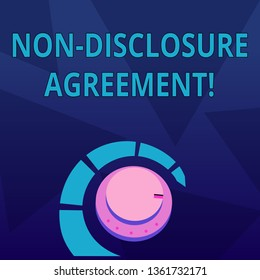Word writing text Non Disclosure Agreement. Business concept for parties agree not disclose confidential information Volume Control Metal Knob with Marker Line and Colorful Loudness Indicator.