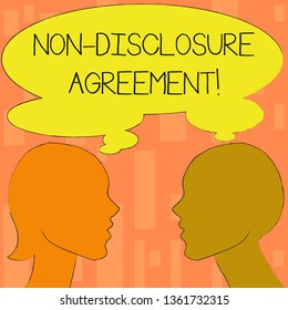 Word writing text Non Disclosure Agreement. Business concept for parties agree not disclose confidential information Silhouette Sideview Profile Image of Man and Woman with Shared Thought Bubble.