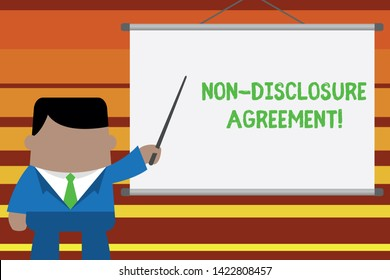 Word writing text Non Disclosure Agreement. Business concept for Legal Contract Confidential Material or Information Businessman standing in front projector screen pointing project idea.