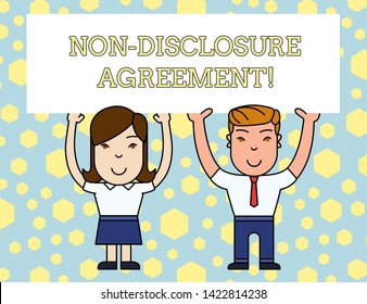 Word writing text Non Disclosure Agreement. Business concept for Legal Contract Confidential Material or Information Two Smiling People Holding Big Blank Poster Board Overhead with Both Hands.