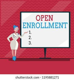 Word writing text Open Enrollment. Business concept for The yearly period when people can enroll an insurance