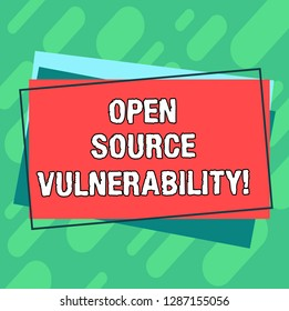 Word writing text Open Source Vulnerability. Business concept for Publicized Exploits are open to malicious users Pile of Blank Rectangular Outlined Different Color Construction Paper.