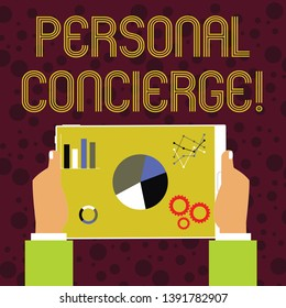 Word writing text Personal Concierge. Business concept for someone who will make arrangements or run errands Hands Holding Tablet with Search Engine Optimization Driver Icons on Screen.