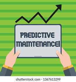 Word writing text Predictive Maintenance. Business concept for maintenance strategy driven by predictive analytics Hand Holding Blank Screen Tablet under Black Progressive Arrow Going Upward.