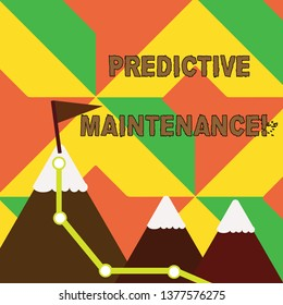 Word writing text Predictive Maintenance. Business concept for maintenance strategy driven by predictive analytics Three Mountains with Hiking Trail and White Snowy Top with Flag on One Peak.