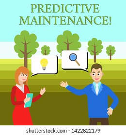Word writing text Predictive Maintenance. Business concept for Predict when Equipment Failure condition might occur Business Partners Colleagues Jointly Seeking Problem Solution Generate Idea.