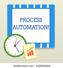Word writing text Process Automation. Business concept for Transformation Streamlined Robotic To avoid Redundancy Layout Wall Clock Notepad with Escalating Bar Graph and Arrow Pointing Up.