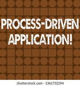 Word writing text Process Driven Application. Business concept for workflow engine where process can be exposed Combination of Brown Squares and Circles Forming Concentric Style Pattern.