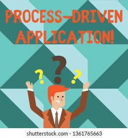 Word writing text Process Driven Application. Business concept for workflow engine where process can be exposed Confused Businessman Raising Both Arms with Question Marks Above his Head.