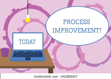 Word writing text Process Improvement. Business concept for Optimization Meet New Quotas Standard of Quality Front view open laptop lying on wooden desktop light bulb falling glass.