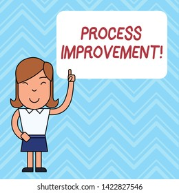 Word writing text Process Improvement. Business concept for Optimization Meet New Quotas Standard of Quality Woman Standing with Raised Left Index Finger Pointing at Blank Text Box.