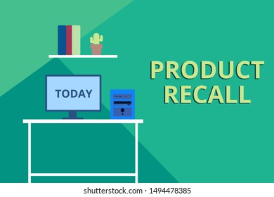 Word writing text Product Recall. Business concept for Request by a company to return the product due to some issue Desktop computer wooden table background shelf books flower pot ornaments.