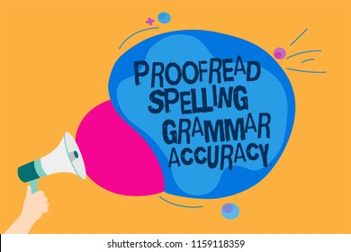 Word writing text Proofread Spelling Grammar Accuracy. Business concept for Grammatically correct Avoid mistakes Man holding Megaphone loudspeaker screaming talk colorful speech bubble.