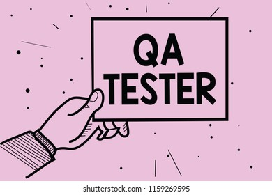 Word writing text Qa Tester. Man hand holding paper communicating information dotted purple background.
