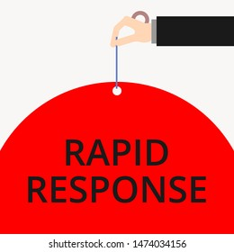 Word writing text Rapid Response. Business concept for Medical emergency team Quick assistance during disaster Male hand arm needle punching big half blank balloon geometrical background.