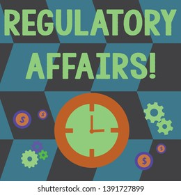 Word writing text Regulatory Affairs. Business concept for the desire of governments to protect public health Time Management Icons of Clock, Cog Wheel Gears and Dollar Currency Sign.