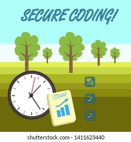 Word writing text Secure Coding. Business concept for Applied to avoid the introduction of security vulnerabilities Layout Wall Clock Notepad with Escalating Bar Graph and Arrow Pointing Up.