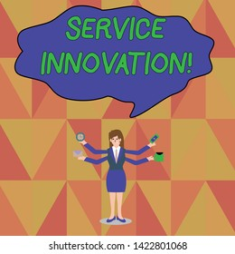 Word writing text Service Innovation. Business concept for Improved Product Line Services Introduce upcoming trend Businesswoman with Four Arms Extending Sideways Holding Workers Needed Item.