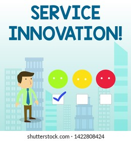 Word writing text Service Innovation. Business concept for Improved Product Line Services Introduce upcoming trend White Male Questionnaire Survey Choice Checklist Satisfaction Green Tick.