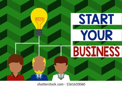 Word writing text Start Your Business. Business concept for going into a New Venture Create New Product Services Group three executive persons sharing idea icon. Startup team meeting.