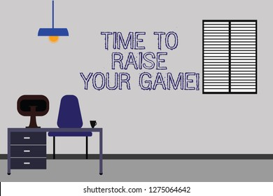Word writing text Time To Raise Your Game. Business concept for Be more competitive actions to become the winner Work Space Minimalist Interior Computer and Study Area Inside a Room photo.