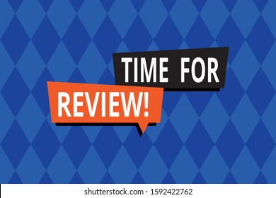 Word writing text Time For Review. Business concept for formal assessment of something with intention instituting change Repeating geometrical rhombus pattern. Seamless abstract design. Wallpaper.