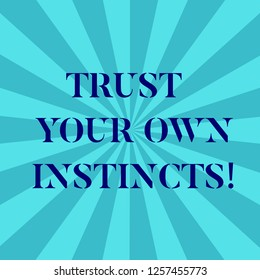 Word writing text Trust Your Own Instincts. Business concept for Intuitive follow demonstratingal feelings confidence Sunburst photo Two Tone Explosion Blank Text Space for Announcement.