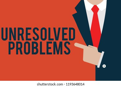 Word writing text Unresolved Problems. Business concept for those Queries no one can answer Unanswerable Questions