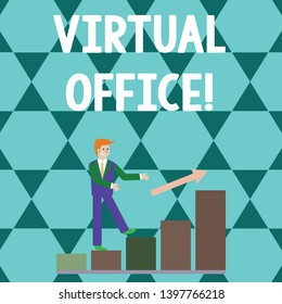 Word writing text Virtual Office. Business concept for Mobile workenvironment equipped with telecommunication links Smiling Businessman Climbing Colorful Bar Chart Following an Arrow Going Up.