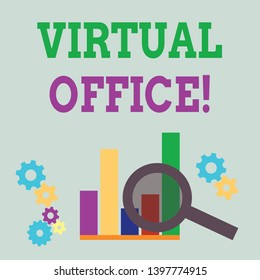 Word writing text Virtual Office. Business concept for Mobile workenvironment equipped with telecommunication links Magnifying Glass Over Bar Column Chart beside Cog Wheel Gears for Analysis.
