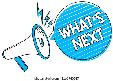 Word writing text What s is Next. Business concept for Asking whatever comes immediately after the present one Megaphone loudspeaker blue speech bubble stripes important loud message.