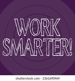 Word writing text Work Smarter. Business concept for its better to efficient and productive than waste time Concentric Circle Pattern Round Shape in Violet Monochrome with Perspective.