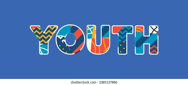 The word YOUTH concept written in colorful abstract typography.