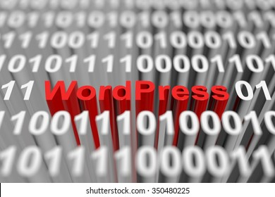 WordPress is presented in the form of a binary code with blurred background 3d illustration
