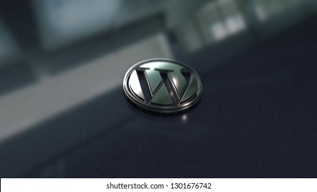 Wordpress symbol close up - metal shape on metallic background. Render 3D.