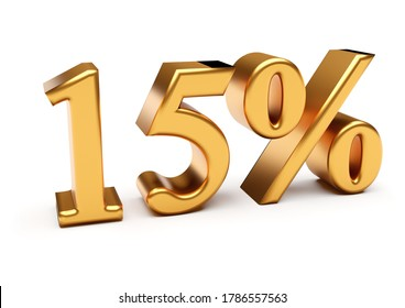 Words 15 percent off discount isolated on white. 3d rendering
