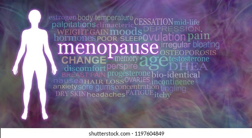 Words associated with the Menopause  -  white female silhouette beside a Menopause word cloud on a multicoloured wispy  background