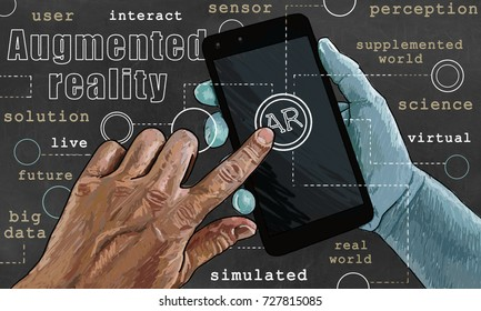 Words of Augmented reality illustrated in Classic style