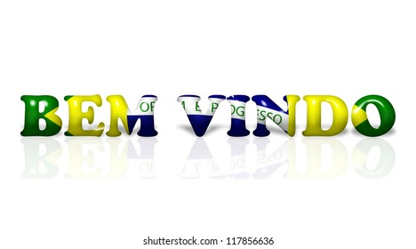 The words Bem Vindo welcome in the Brazil flag colors isolated on white
