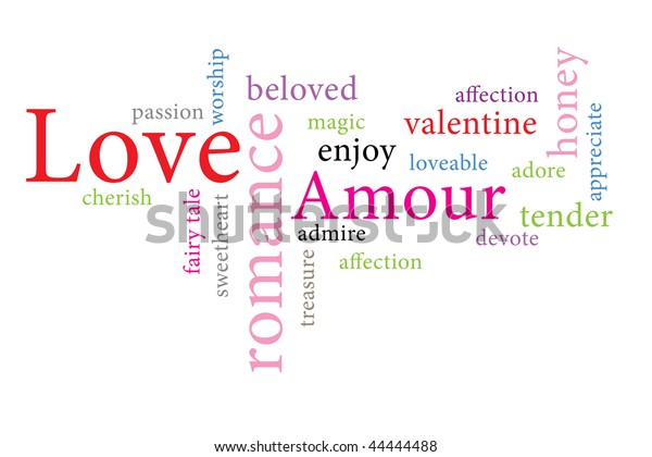 Words Cloud Love Different Colors Stock Illustration 44444488