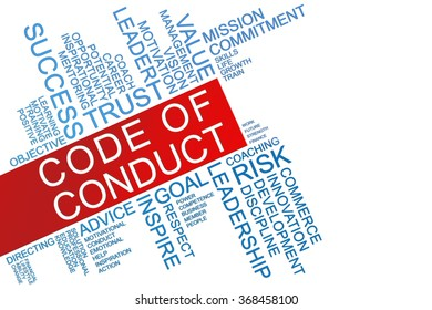 The words Code of Conduct text cloud with copy space for text on isolated white background. Business concept text cloud.